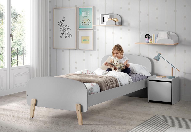 Vipack Kinderbett Kiddy grau Kinder Kinderbetten Kindermöbel