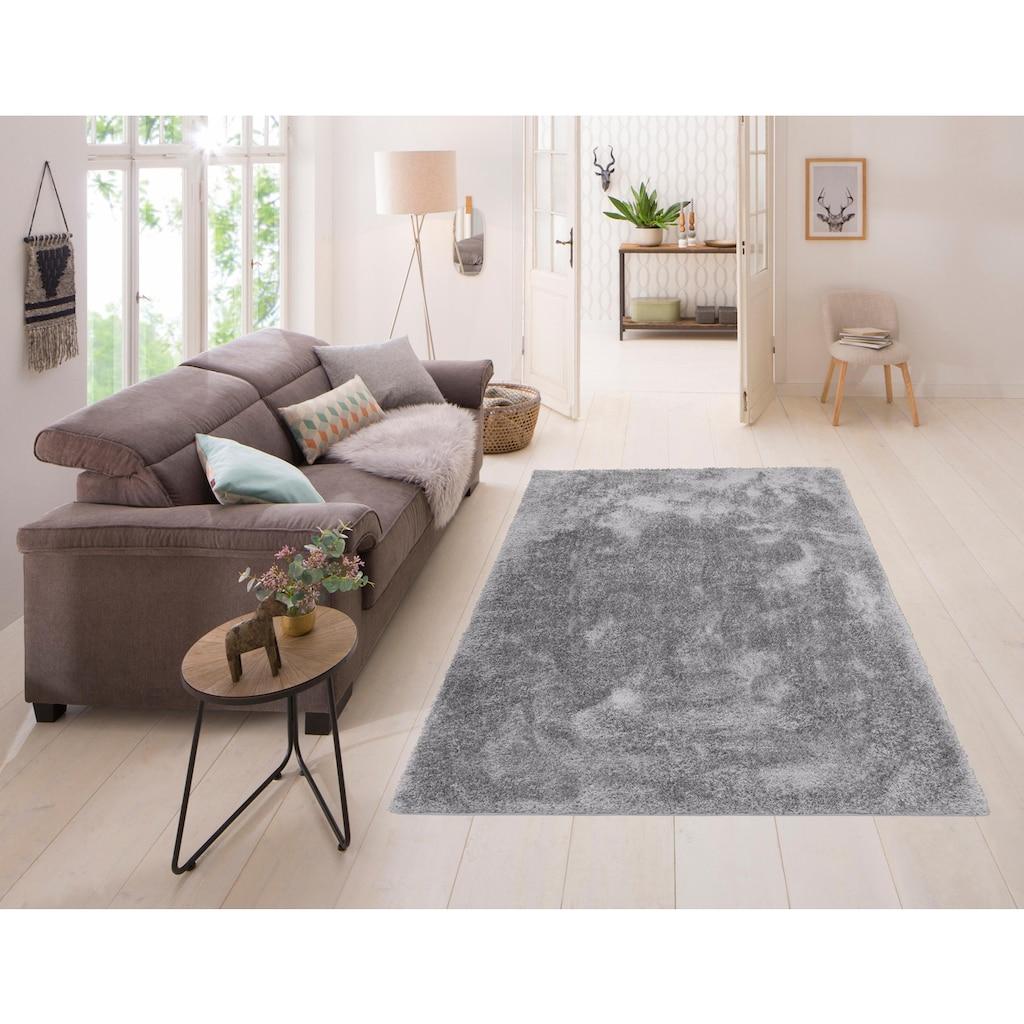 Home affaire Hochflor-Teppich »Malin«, rechteckig, 43 mm Höhe, Shaggy, Uni Farben, leicht glänzend, besonders weich durch Microfaser, Wohnzimmer