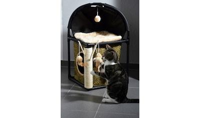 Dobar Katzenhaus , B/L/H: 40/40/73 cm, schwarz/beige/leoprint kaufen