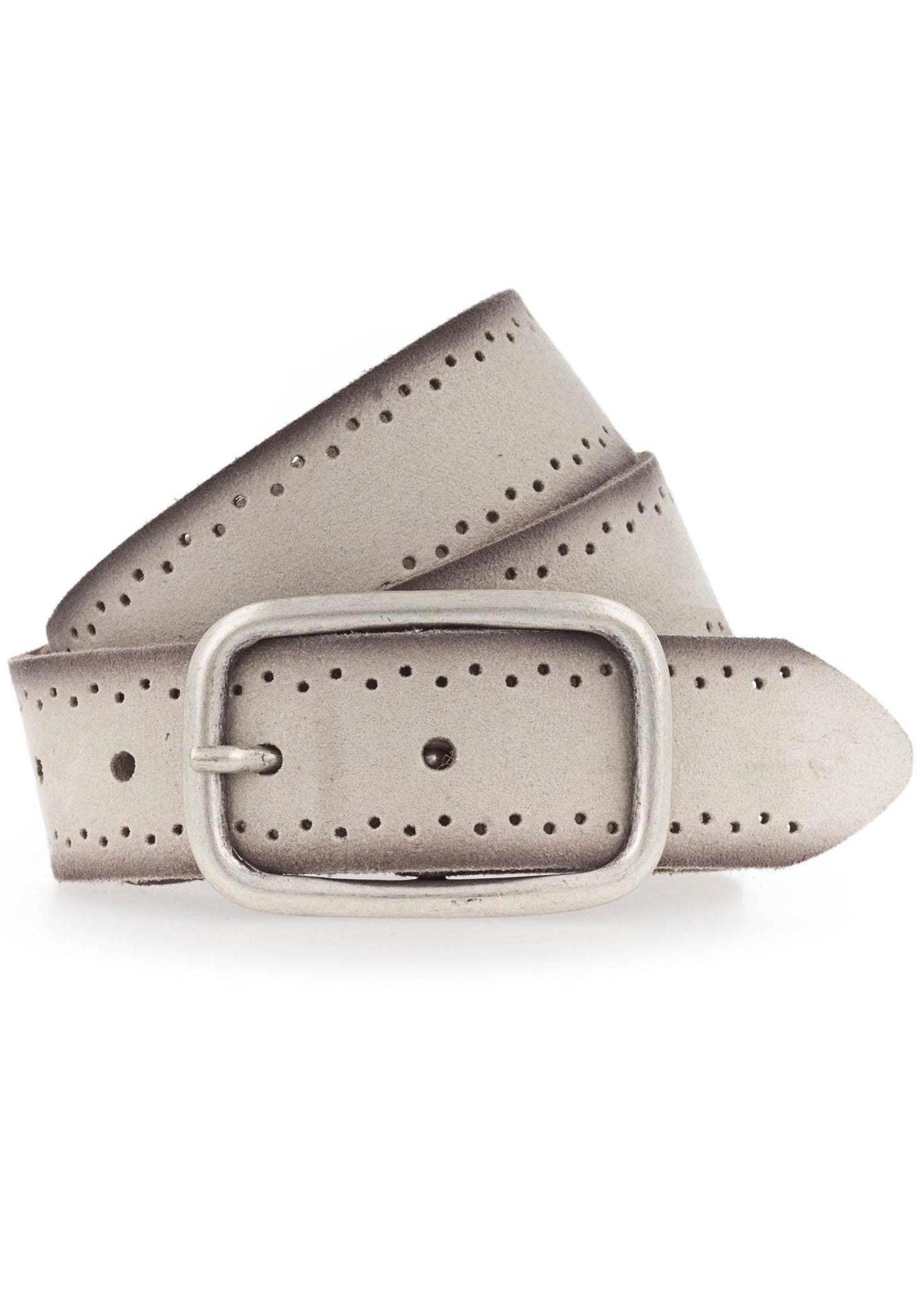 MUSTANG Ledergürtel, Robustes, genarbtes Rindsleder mit Lochstanzung beige Damen Ledergürtel Gürtel Accessoires