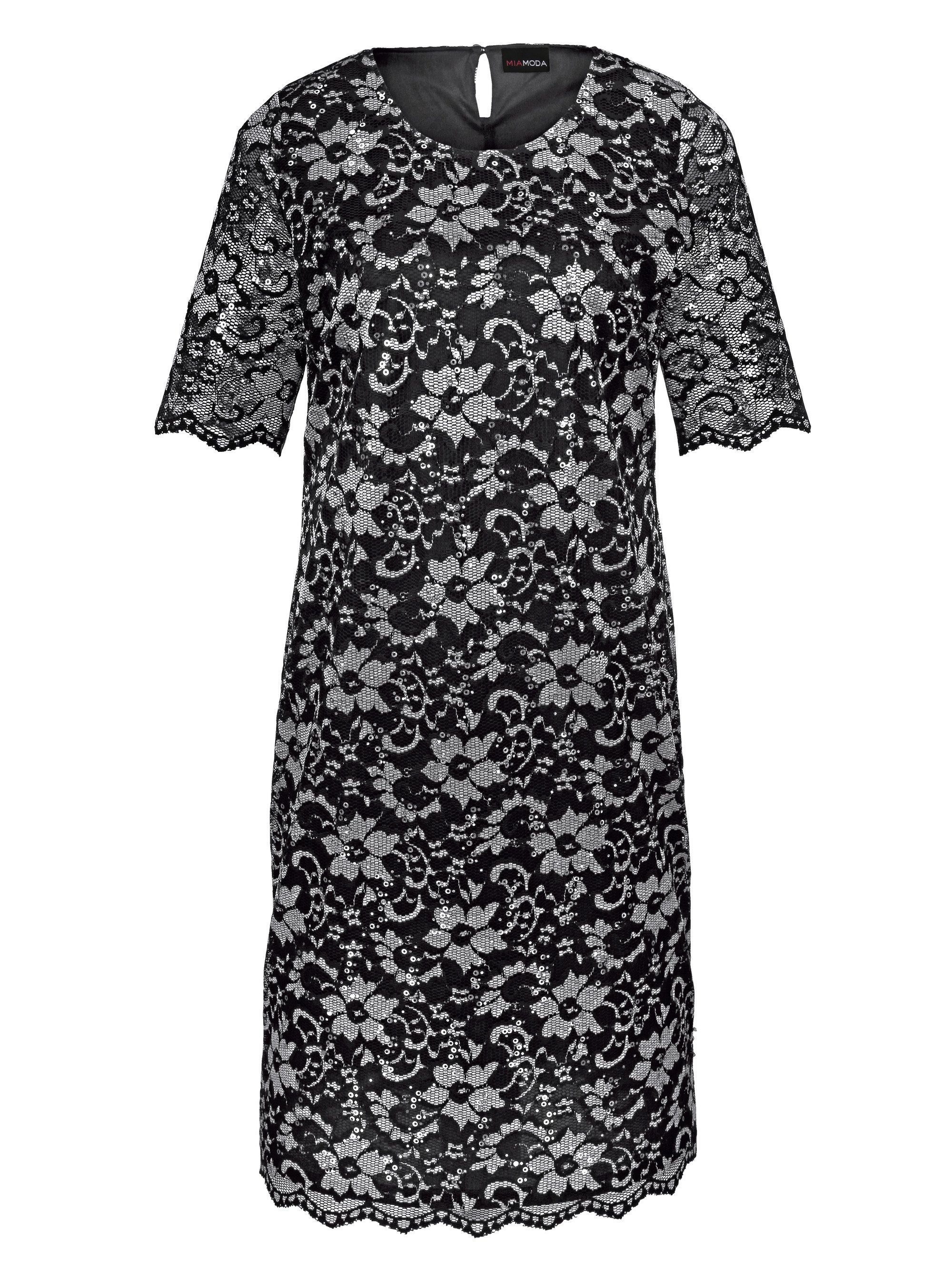 MIAMODA Kleid mit zweifarbiger Spitze und Pailletten