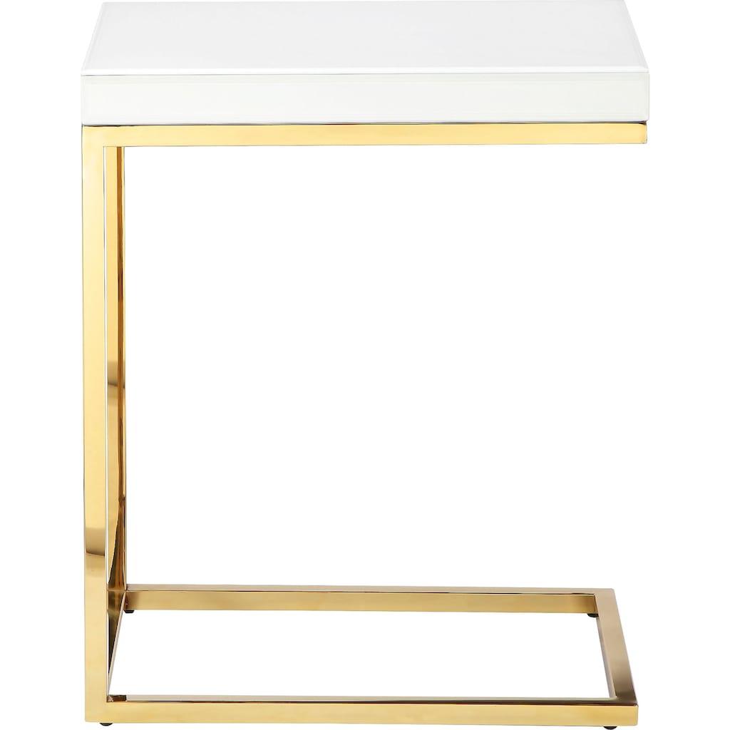Leonique Beistelltisch »Kamilla«, Tischplatte in Marmoroptik, auch als Nachttisch geeignet