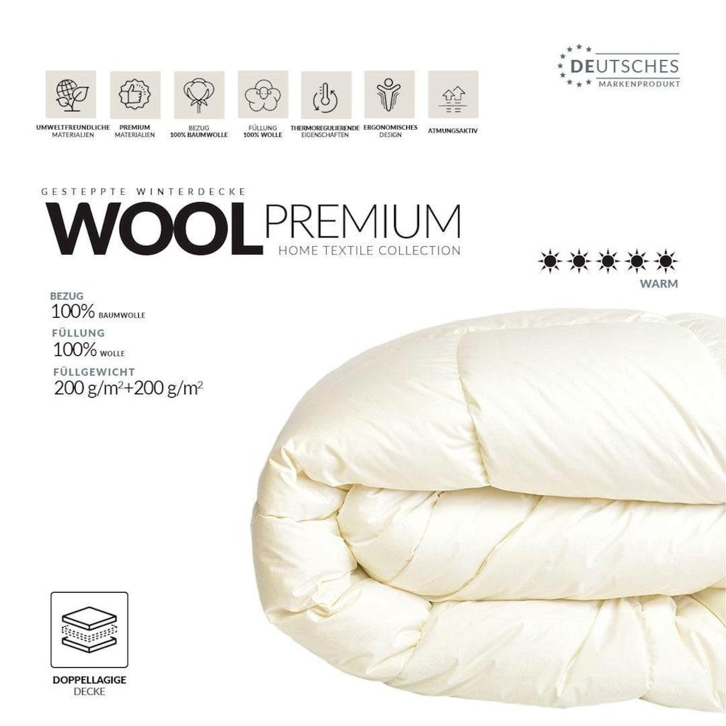 SEI Design Naturfaserbettdecke »WOOL Premium«, extrawarm, Füllung 100% echter naturbelassener Schurwolle, Bezug 100% Baumwolle, (1 St.)