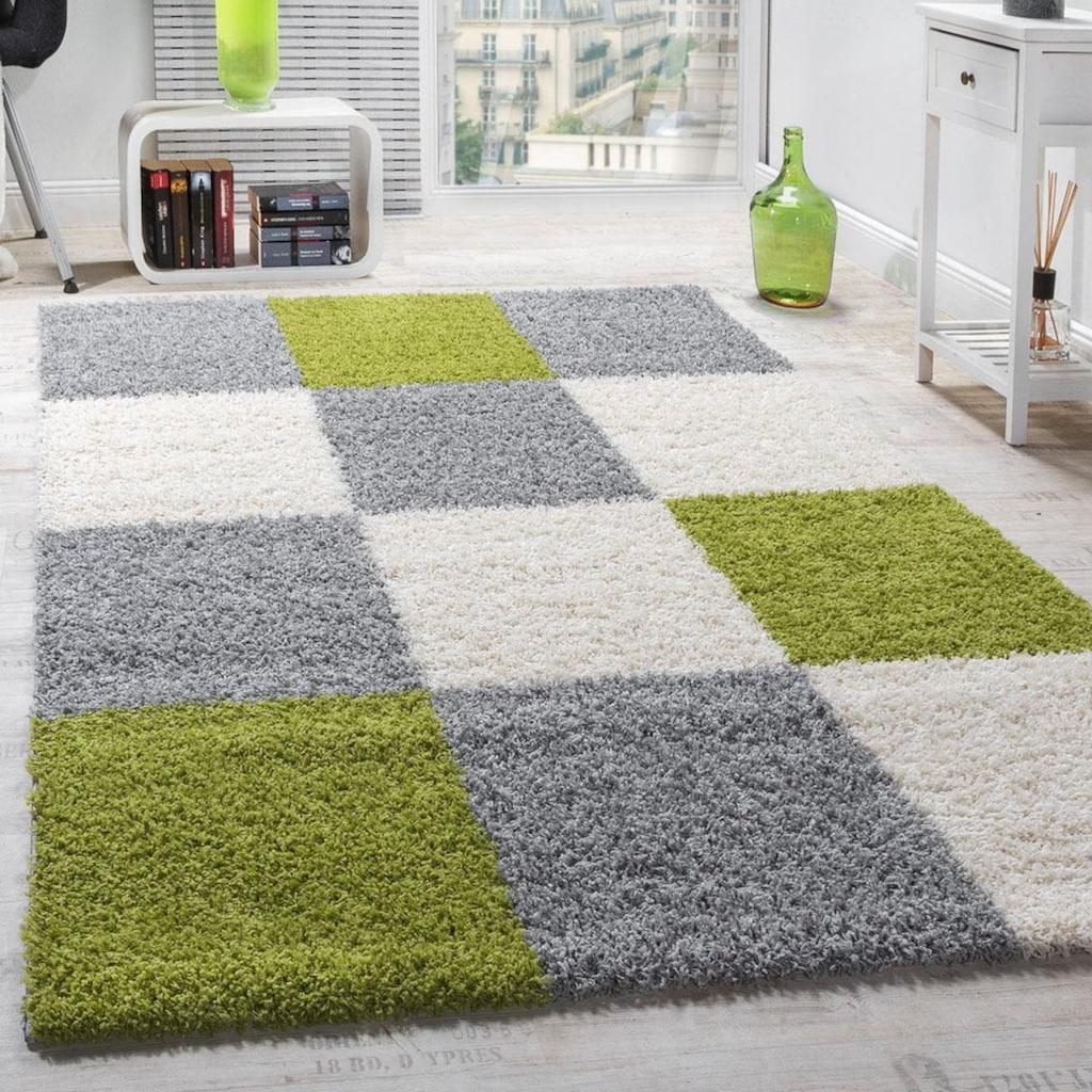 Paco Home Hochflor-Teppich »Mango 316«, rechteckig, 35 mm Höhe, Moderner Hochflor Shaggy Teppich, Wohnzimmer