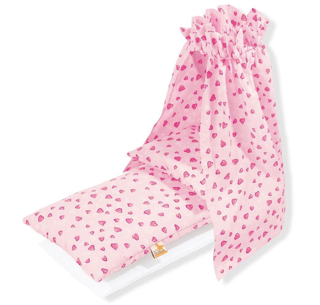 Pinolino Puppen Bettwäsche Bettzeug mit Himmel für Puppenwiege, Herzchen, Made in Europe rosa Kinder Puppenzubehör
