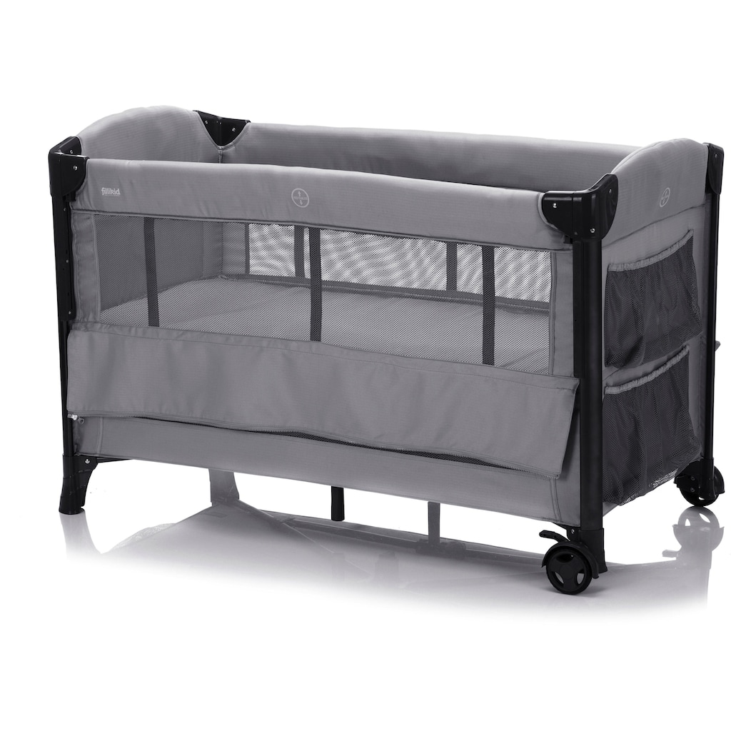 Fillikid Baby-Reisebett »Faltbett, grau«, inkl. Transporttasche