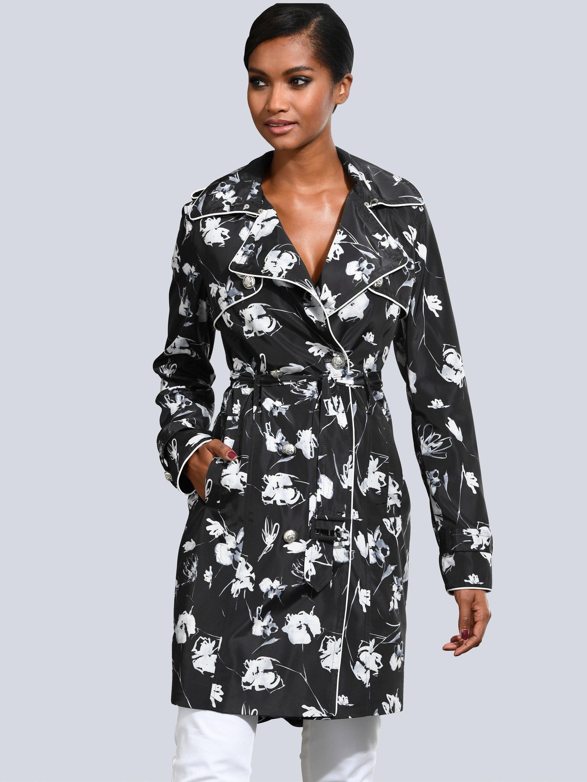 Alba Moda Trenchcoat im exklusiven Alba Moda Print | Bekleidung > Mäntel > Trenchcoats | Schwarz - Weiß | Polyester | ALBA MODA