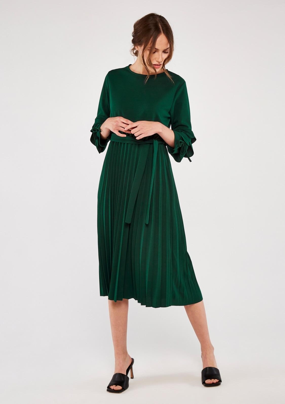 apricot -  Plisseekleid Pleat Ruffle Sleeve Maxi Dress