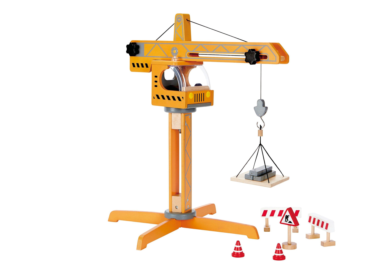 Hape Spielzeug-Kran Großer Baukran gelb Kinder Ab 3-5 Jahren Altersempfehlung Spielzeugfahrzeuge