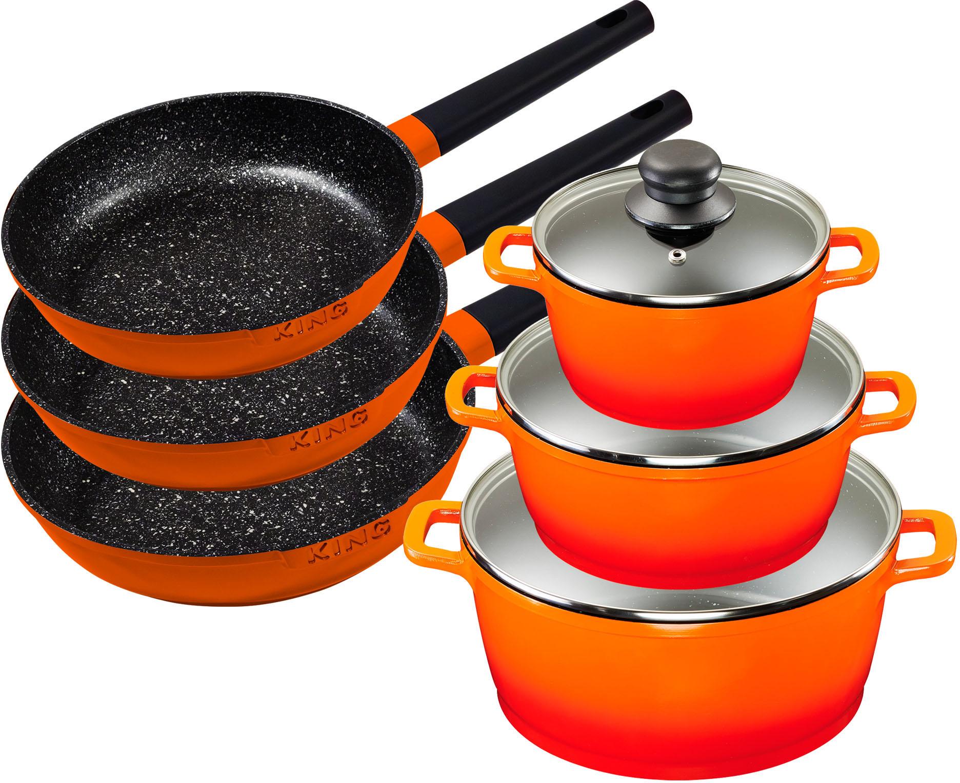 KING Topf-Set Shine Orange, Aluminiumguss, (Set, 9 tlg., 3 Pfannen, Töpfe, Deckel), Induktion orange Topfsets Töpfe Haushaltswaren