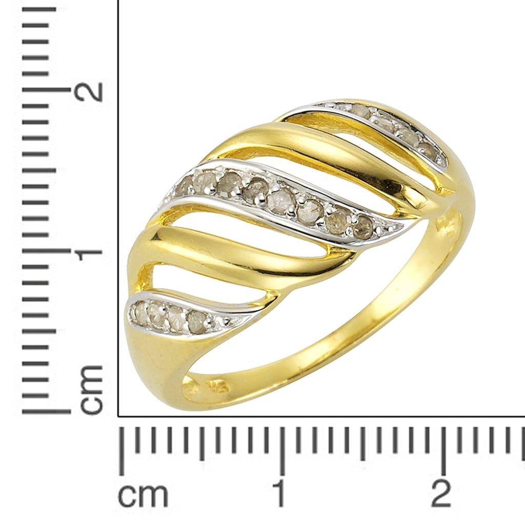 Diamonds by Ellen K. Fingerring, Ring 925/- Sterling Silber Diamant 0,18ct.