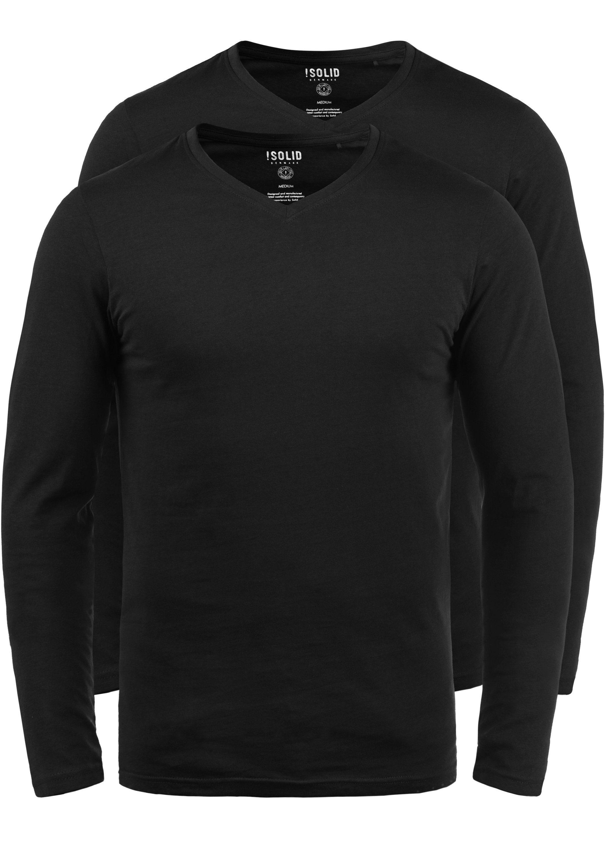 solid -  V-Shirt Basil, Langarmshirts im 2er-Pack