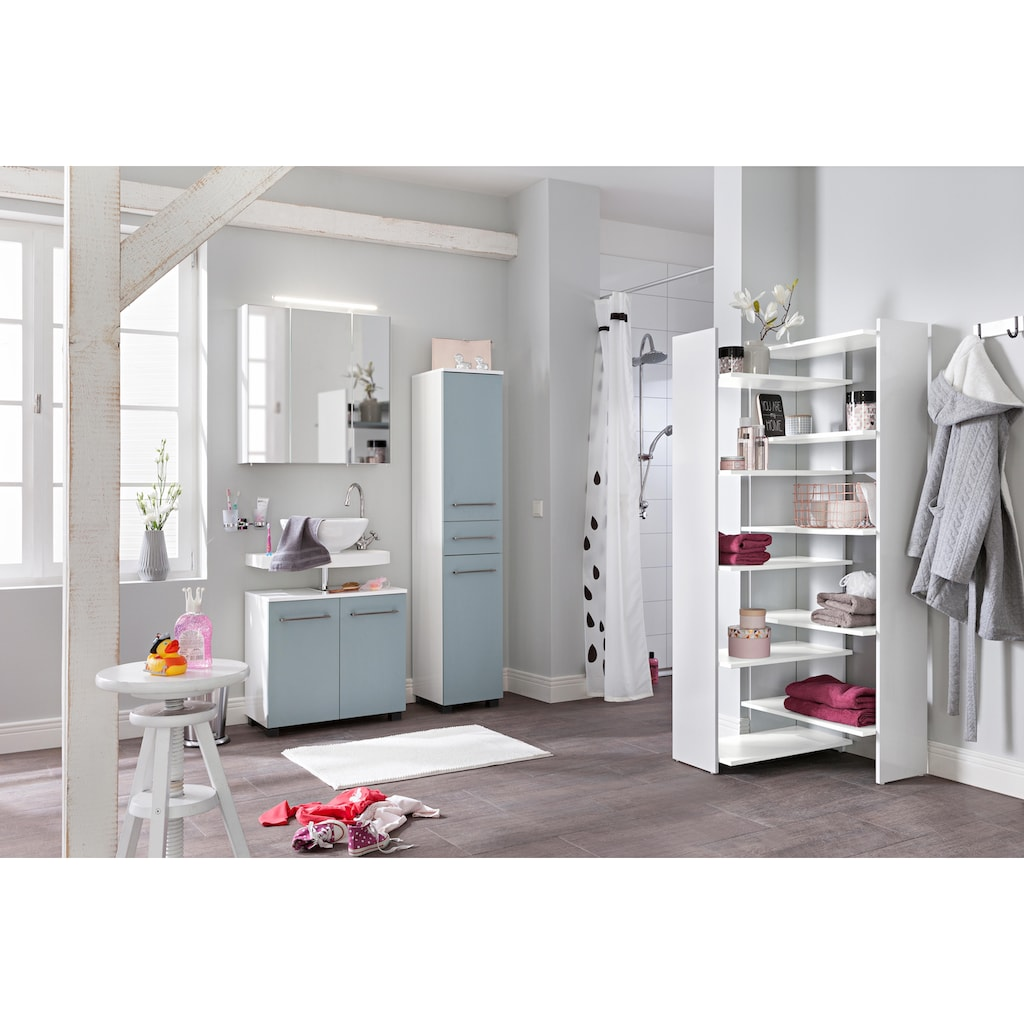 Schildmeyer Spiegelschrank »Dorina«, Breite 70 cm, 3-türig, LED-Beleuchtung, Schalter-/Steckdosenbox, Glaseinlegeböden, Made in Germany