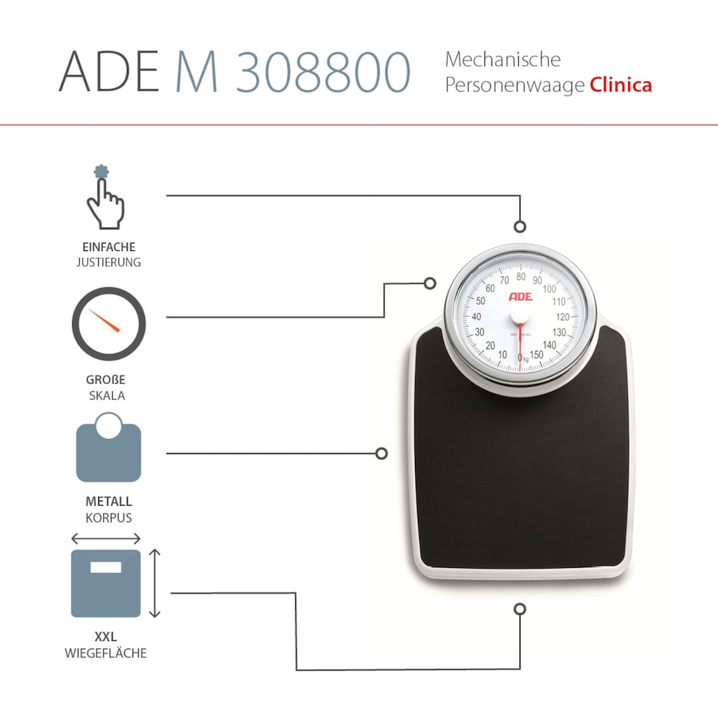 ADE Personenwaage »M308800 Clinica«, mechanische Waage, präzise Doktorwaage bis 160kg