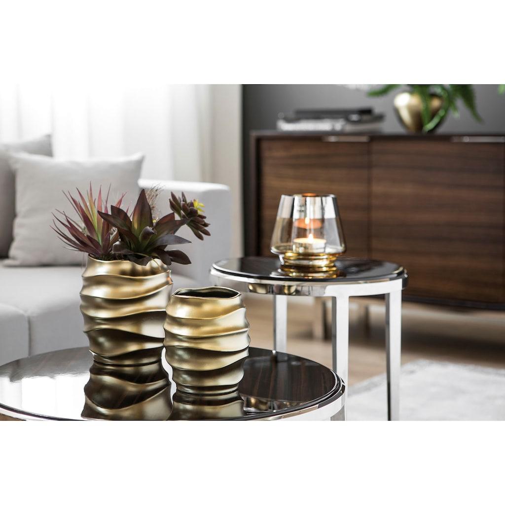 Fink Übertopf »FABIA, goldfarben«, (1 St.), dekorativer Blumentopf, handgefertigt, aus Keramik, verschiedene Durchmesser erhältlich