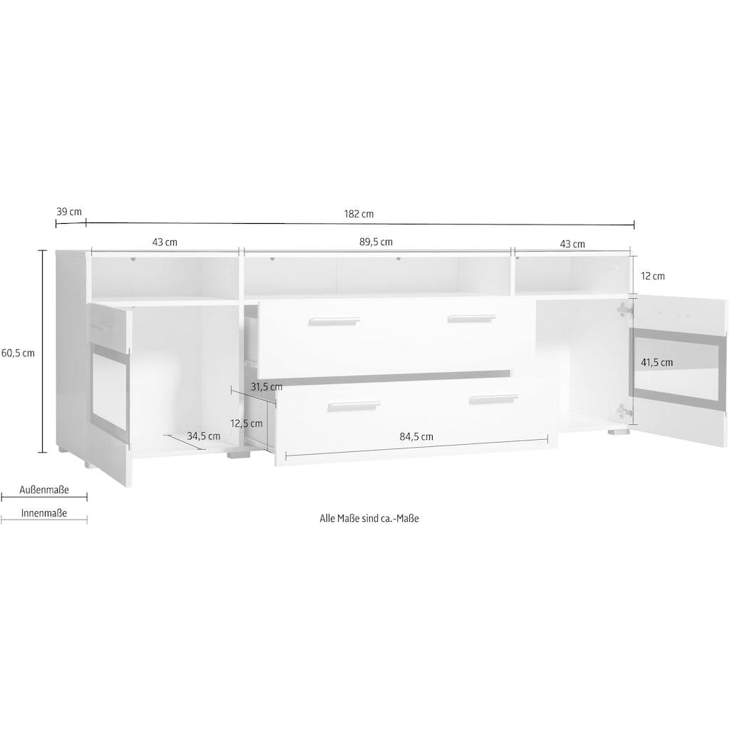 TRENDMANUFAKTUR Lowboard »Sarahmix«, Breite 182 cm