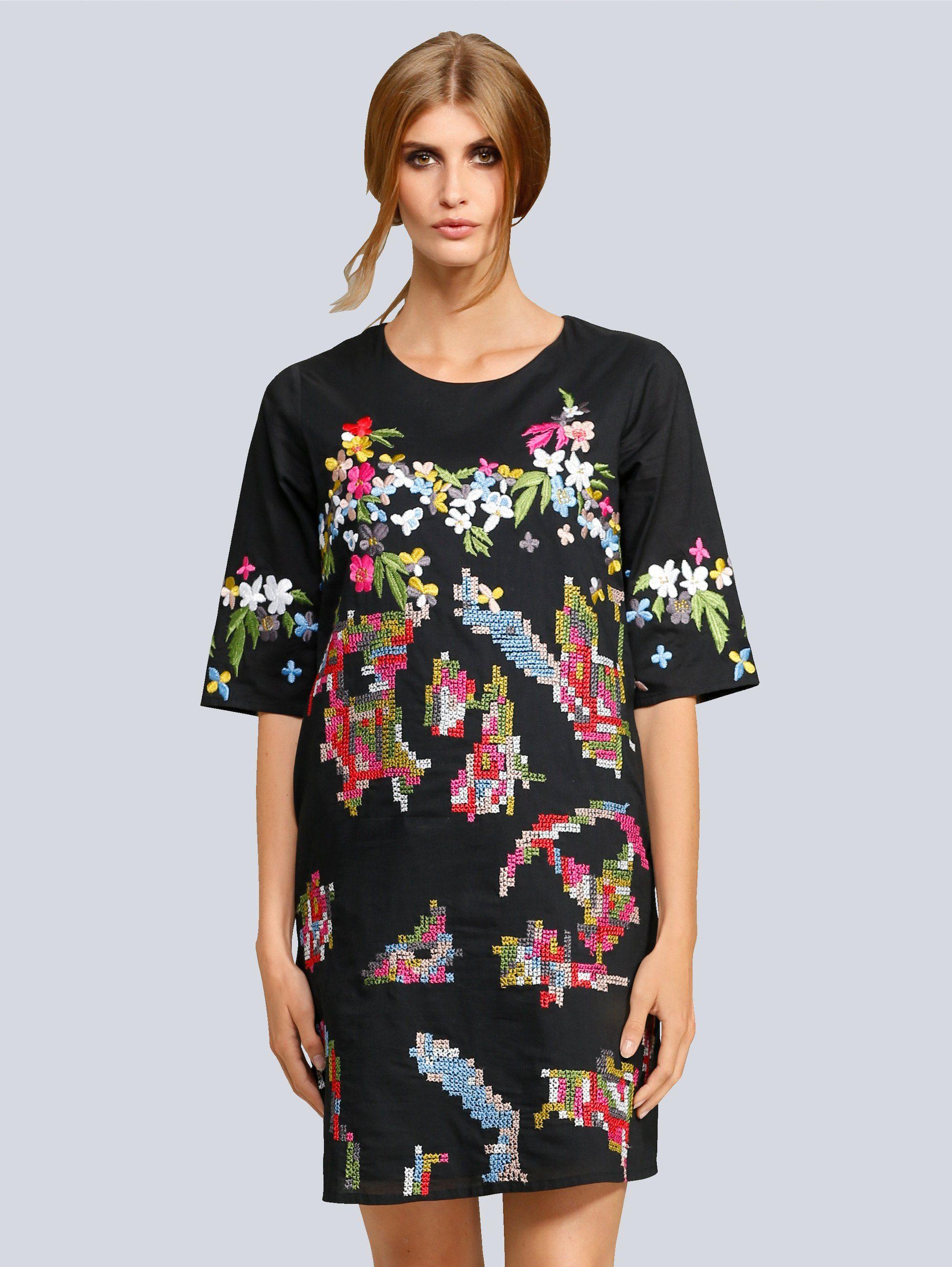Alba Moda Kleid mit Stickerei mit Rundhalsausschnitt