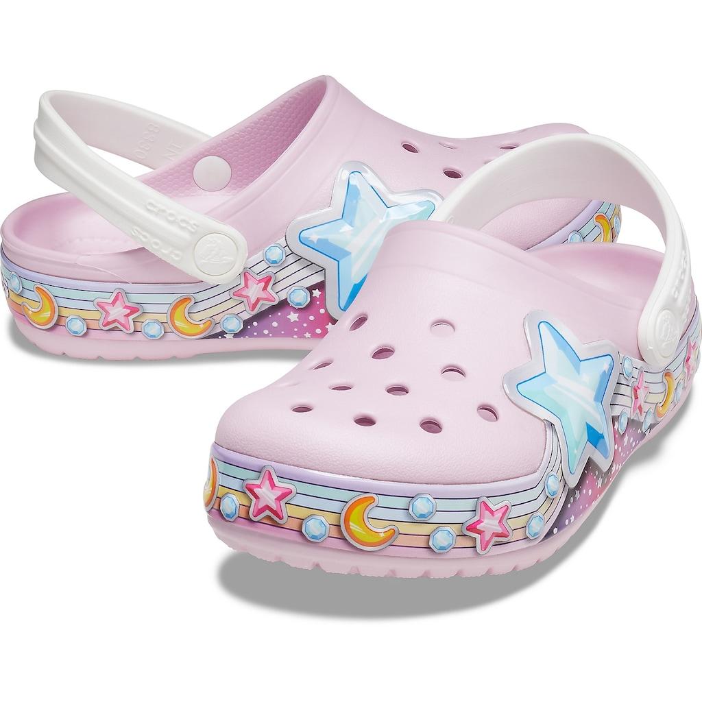 Crocs Clog »Ballerina Pink, FL Star Band Clog K«, mit bunten Sternenmotiven verziert