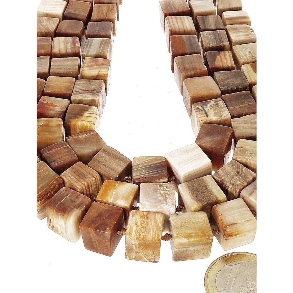 Adelia´s Kette ohne Anhänger »Versteinertes Holz Edelstein Stein Strang ohne Schließe 41 cm«