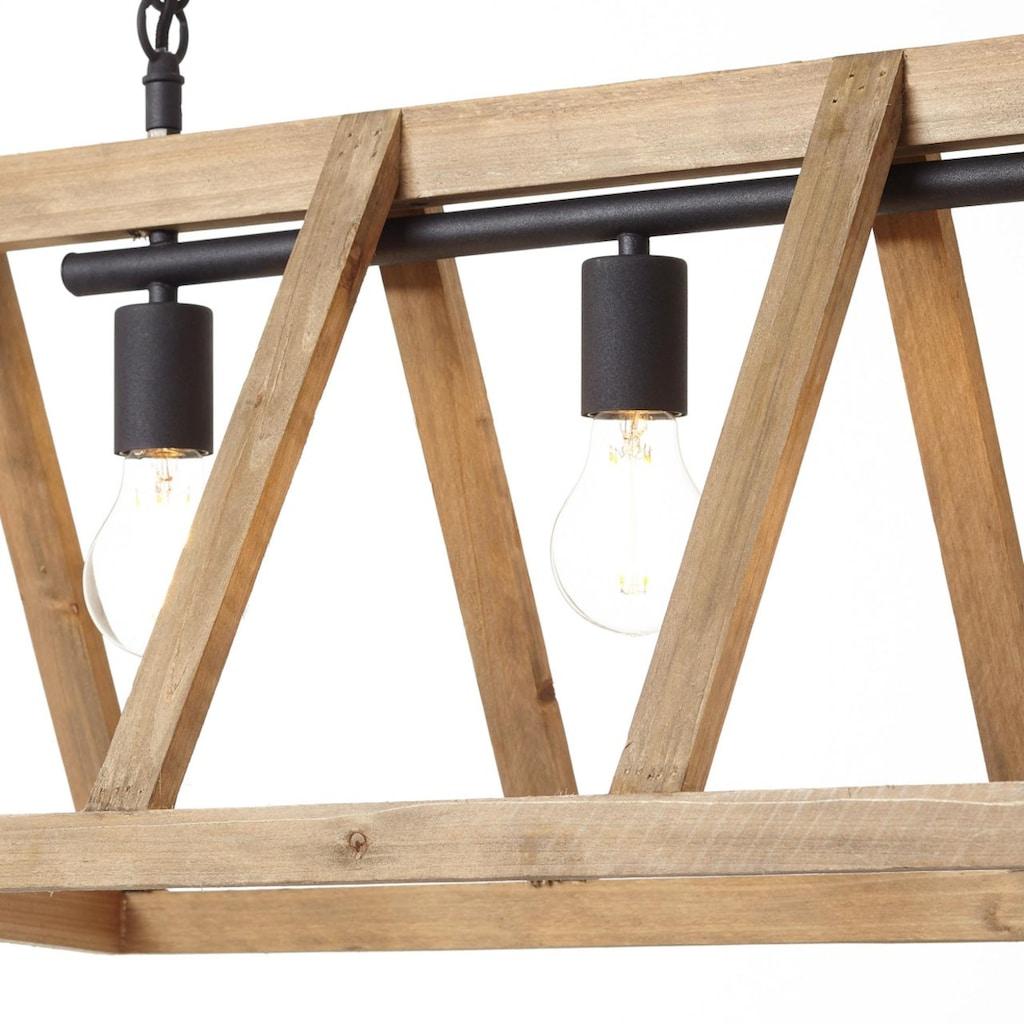 Brilliant Leuchten Matrix Wood Pendelleuchte 4flg antik holz/schwarz korund