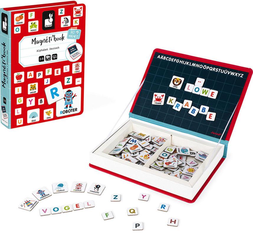 Janod Lernspielzeug Magnetbuch - Alphabet bunt Kinder Lernspiele