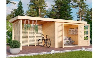 KARIBU Set: Gartenhaus »Arnis 4«, BxT: 592x238 cm, mit Anbau inkl. Seiten -  und Rückwand kaufen