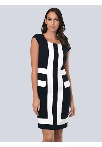 Alba Moda Kleid mit kontrastfarbenen Blenden im Vorderteil kaufen