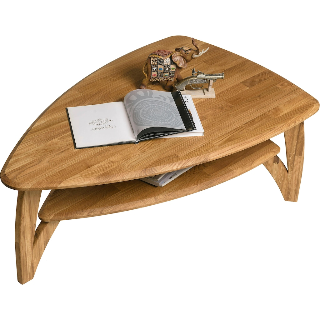 Home affaire Couchtisch »Oja«, ist aus massivem Eichenholz in ovaler Form, Breite 120 cm
