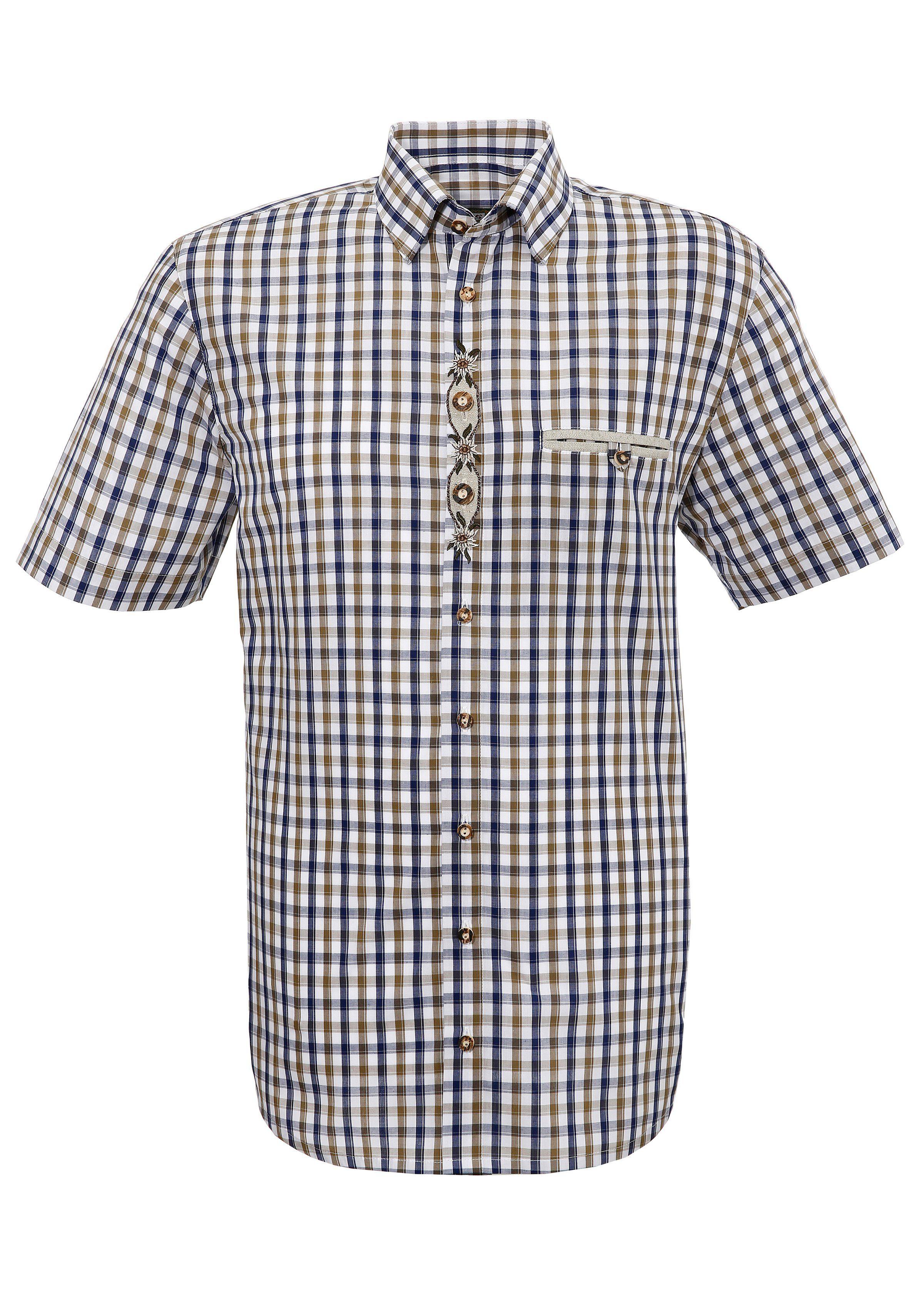 OS-Trachten Trachtenhemd mit Stickerei | Bekleidung > Hemden > Trachtenhemden | Blau | Os-Trachten