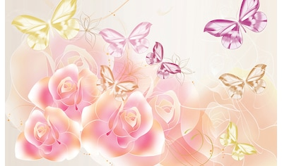 Consalnet Fototapete »Schmetterlinge Blumen«, Motiv kaufen