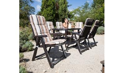 Best 13 - tlg. Gartenmöbelset »Elise«, 6 Klappsessel,Tisch 137x90 cm, Kunststoff, braun kaufen