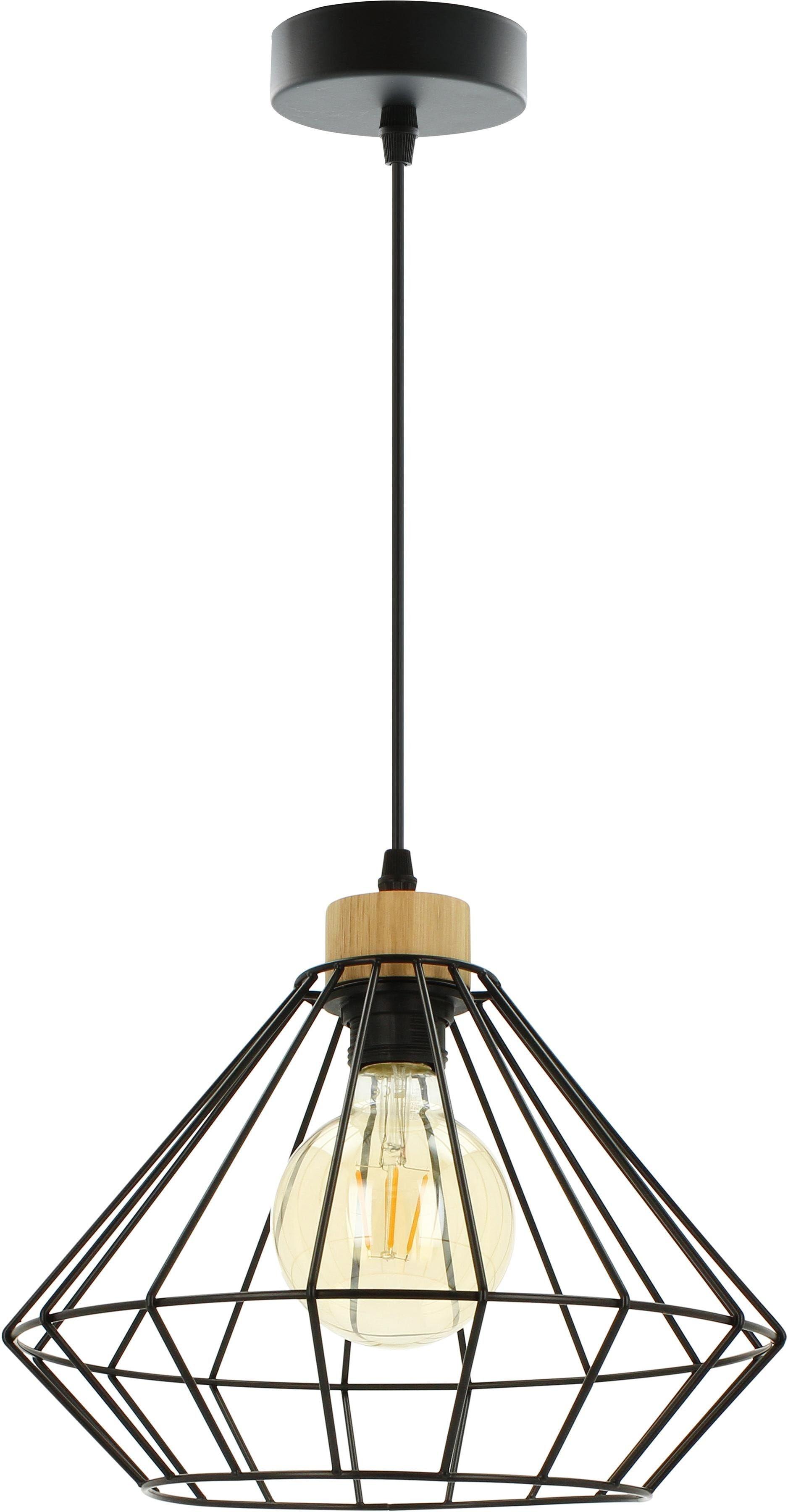 BRITOP LIGHTING Pendelleuchte RAQUELLE, E27, Hängeleuchte, Originelle Leuchte aus Metall und Eichenholz, Passend LM E27, Kabel kürzbar, Made in Europe