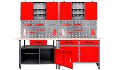 ONDIS24 Werkstatt-Set, 2x Werkbank, 2x Werstattschrank, 2x Lochwand kaufen