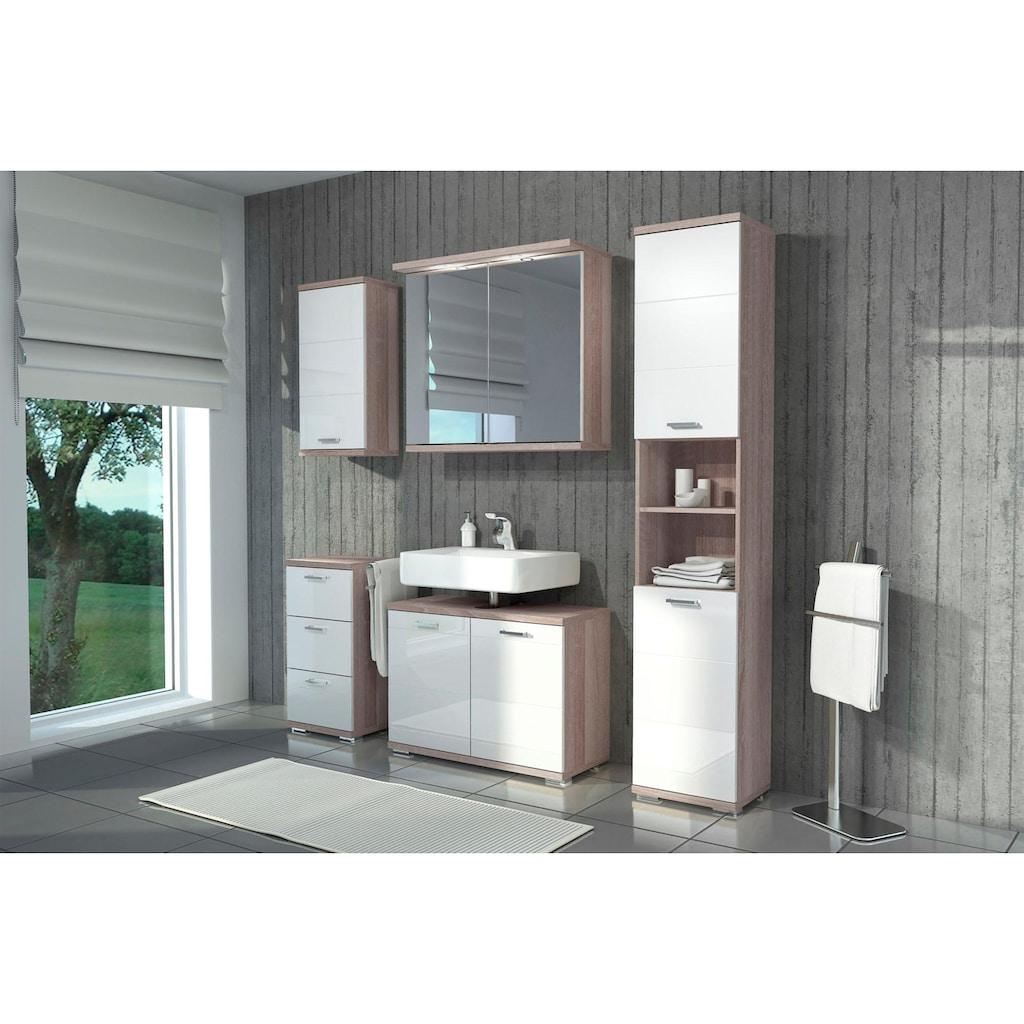 Homexperts Badmöbel-Set »Nusa«, (4 St.), aus Hochschrank, Waschbeckenunterschrank, Hängeschrank und Unterschrank, Badezimmerschrank mit Metallgriffen und MDF-Fronten in Hochglanz-Optik