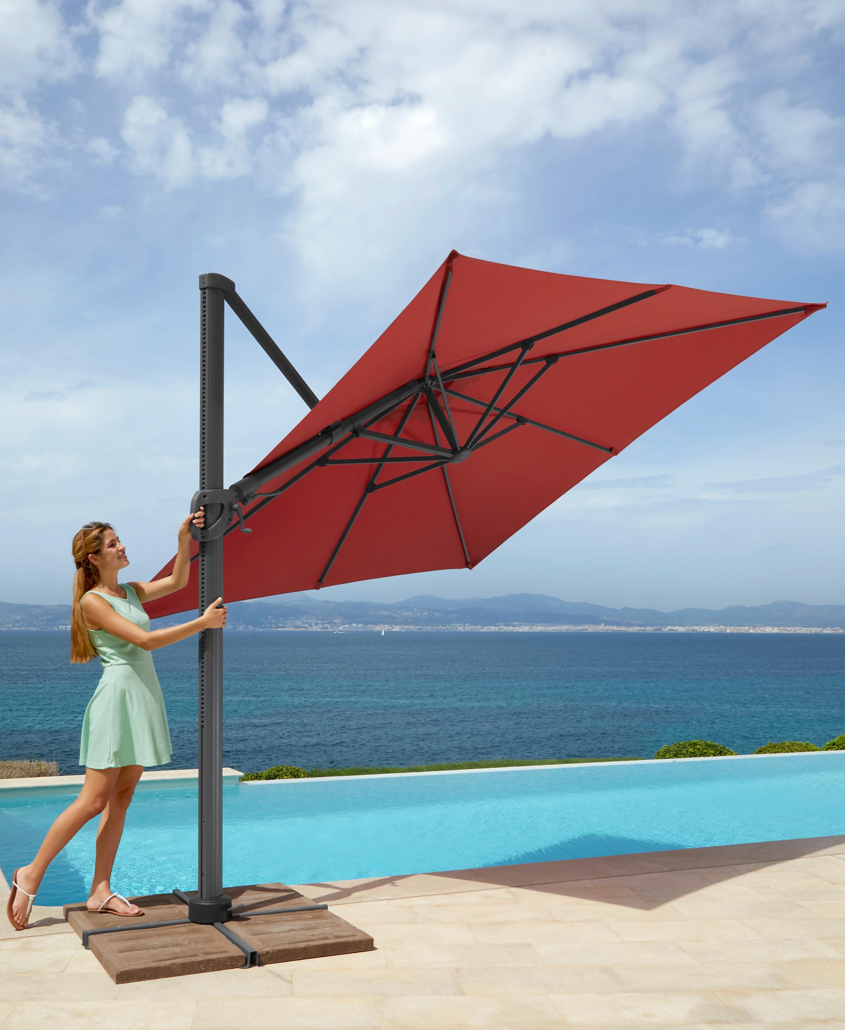 garten gut Sonnenschirm Big Roma, ohne Schirmständer, neigbar rot Sonnenschirme -segel Gartenmöbel Gartendeko