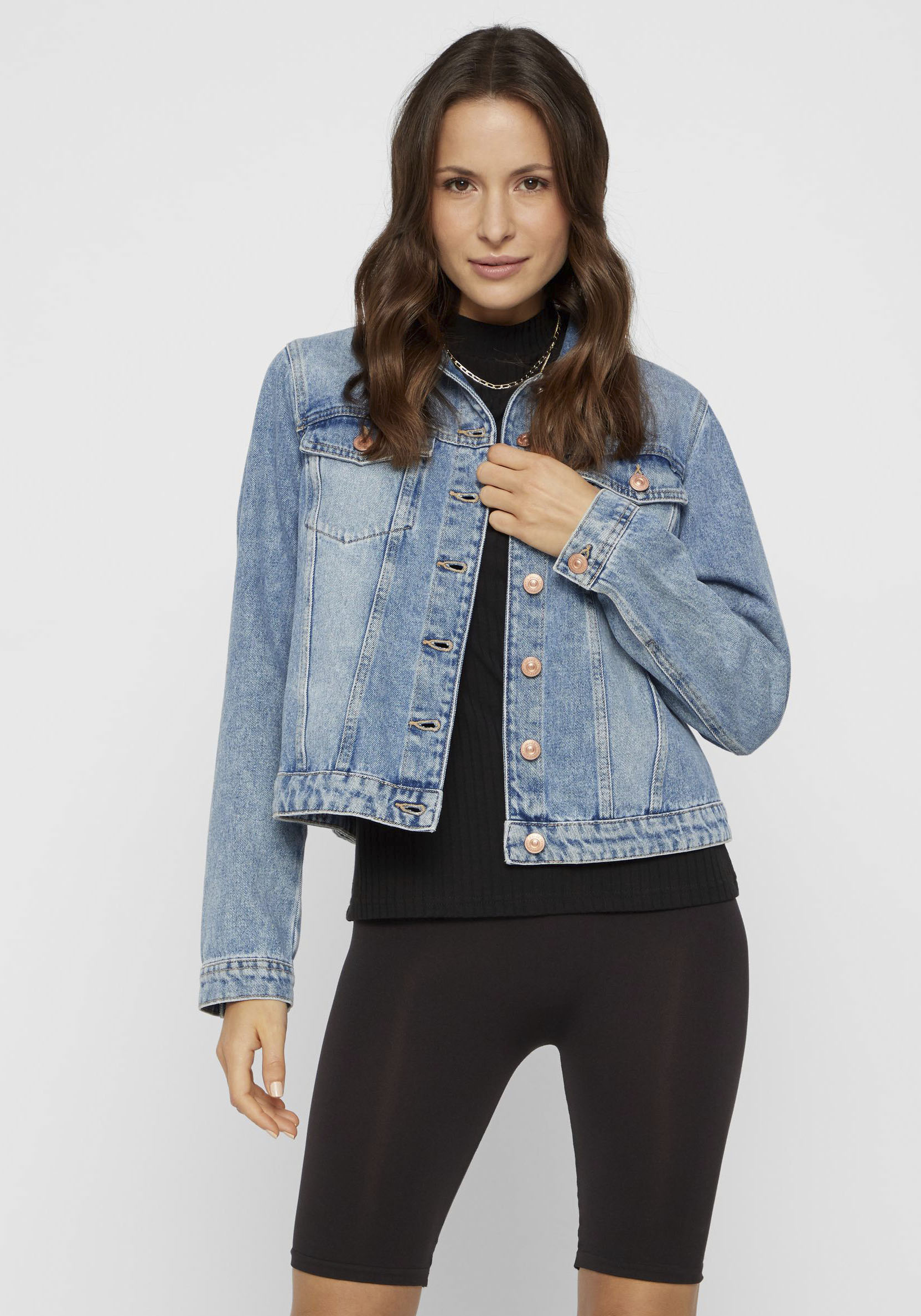 pieces -  Jeansjacke PCLOU, in leichter Used-Waschung