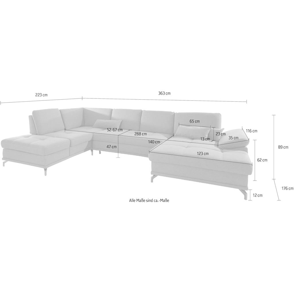 Places of Style Wohnlandschaft »Costello«, incl. Sitztiefenverstellung und Armlehnfunktion, Federkern, wahlweise mit Bettfunktion und Stauraum, 3 Nierenkissen