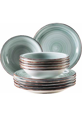 Home affaire Tafelservice »Bel Tempo«, (Set, 12 tlg., 6 Speiseteller, 6 Suppenteller), rustikale Holzoptik mit Spiraldekor kaufen