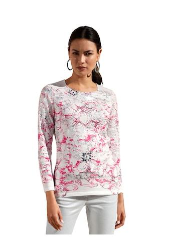 Amy Vermont Rundhalspullover, mit Blumendruck und Foliendruck kaufen