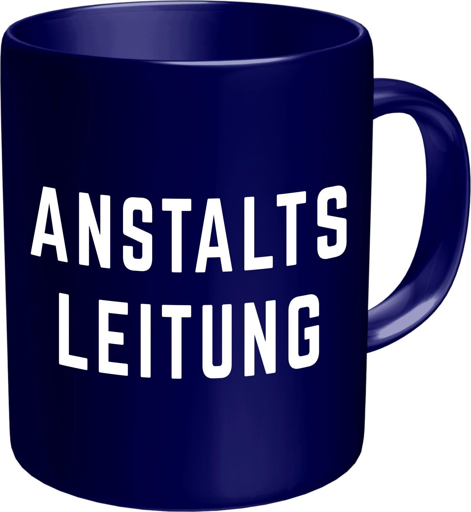 Rahmenlos Kaffeebecher mit witzigem Aufdruck im Geschenkkarton blau
