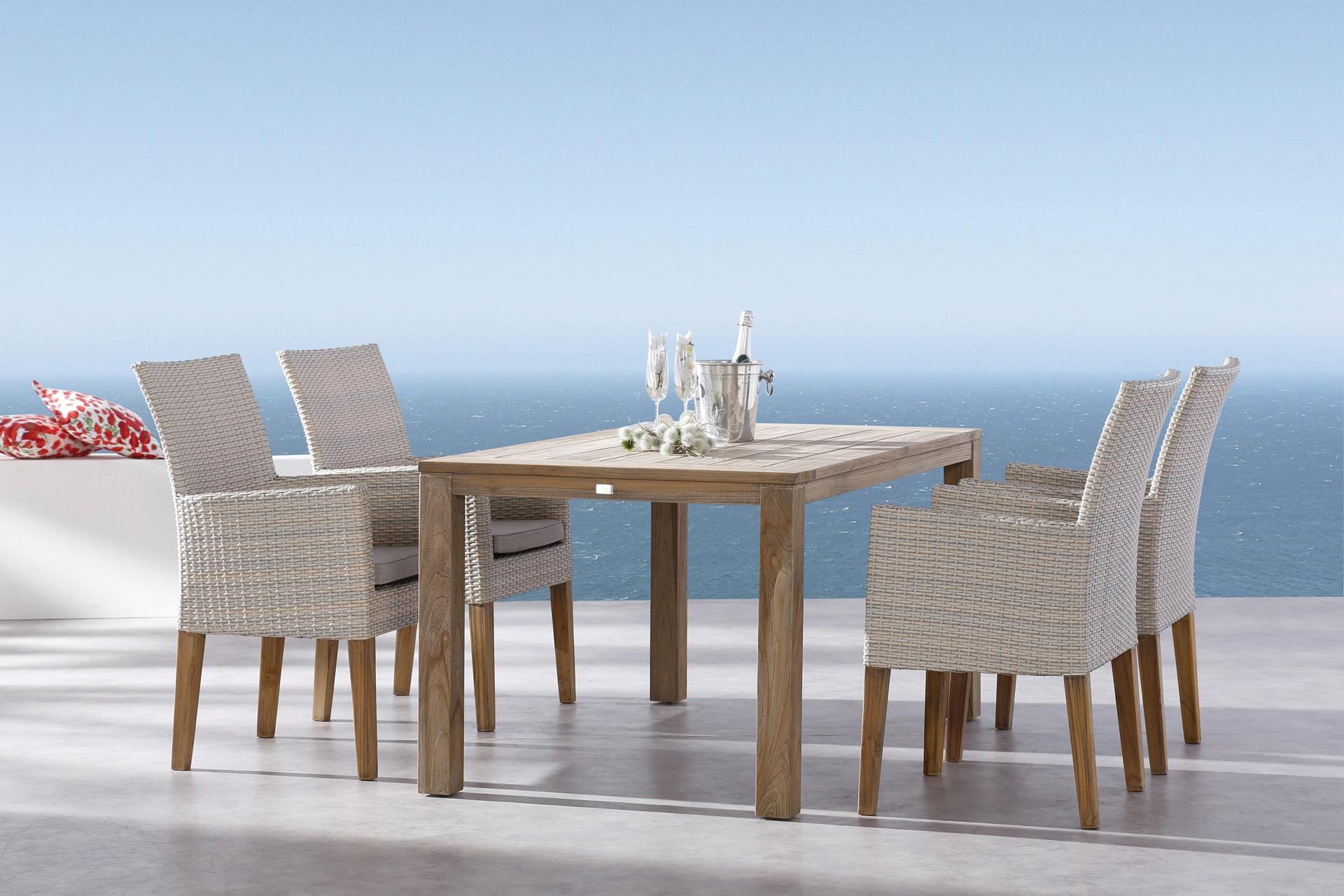 BEST Gartenmöbelset Alicante/Moretti 9-tlg 4 Sessel Tisch 160x90 cm Teak inkl Auflage