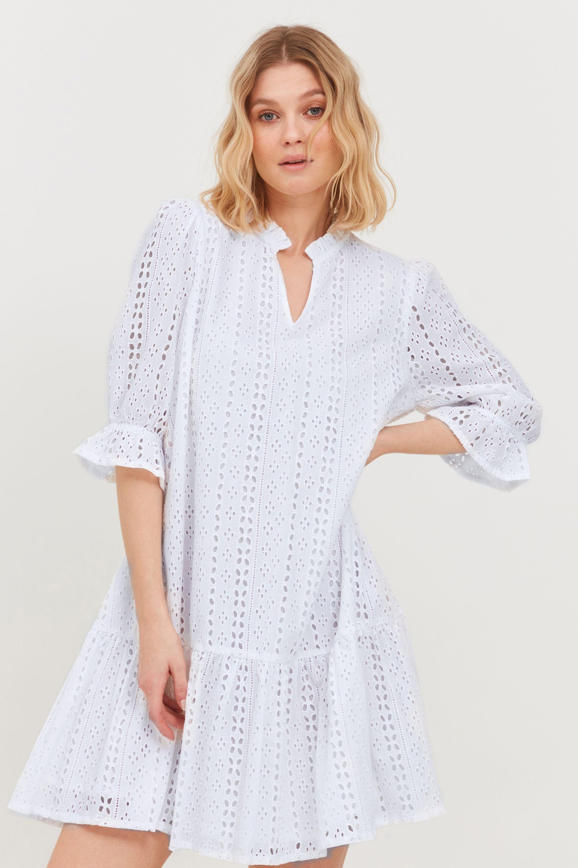 b.young -  Blusenkleid  Blusenkleid mit Lochstickerei, lockeres Sommerkleid
