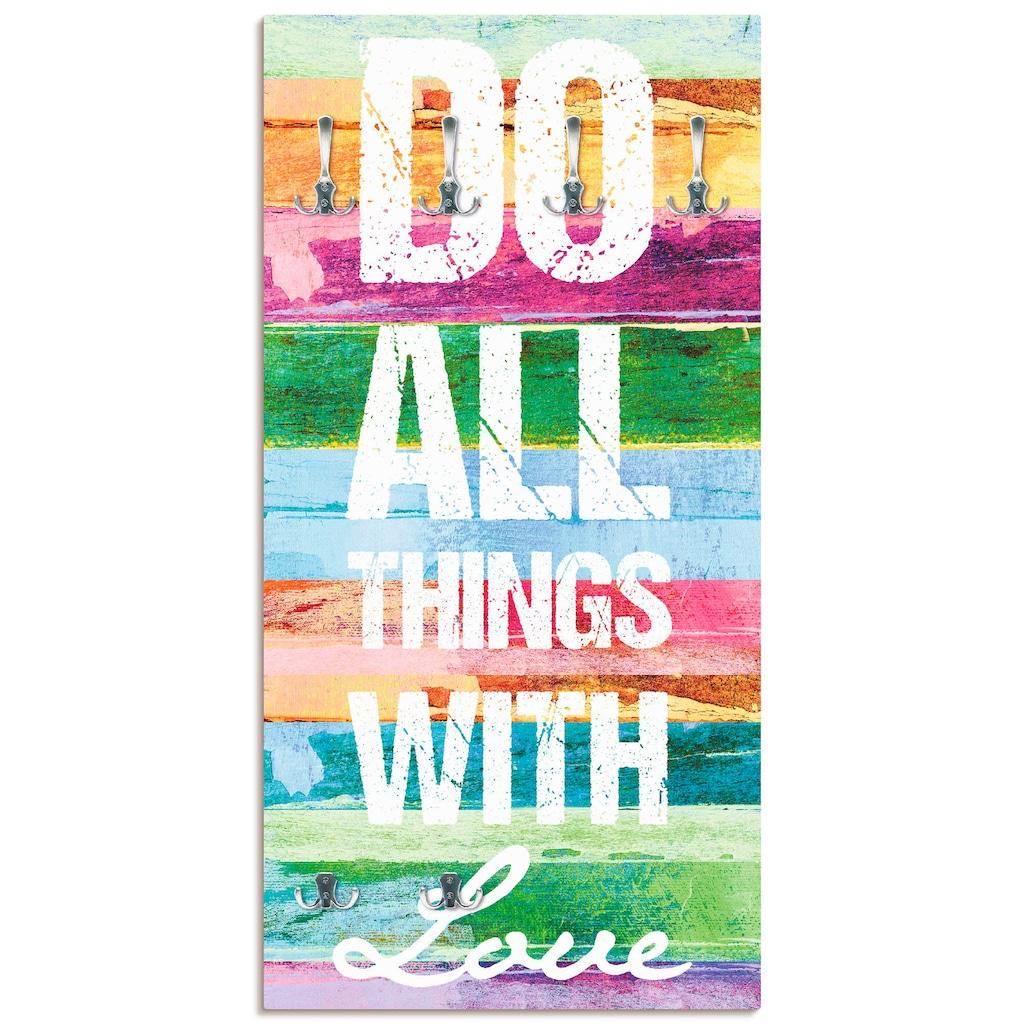 Artland Garderobe »Tu alles mit Liebe«, platzsparende Wandgarderobe aus Holz mit 6 Haken, geeignet für kleinen, schmalen Flur, Flurgarderobe