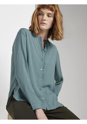 TOM TAILOR Hemdbluse »Stehkragen Bluse mit Rüschendetail« kaufen