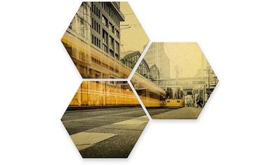 Wall-Art Mehrteilige Bilder »Goldeffekt Berlin Friedrichstrasse«, (Set, 3 St.) kaufen