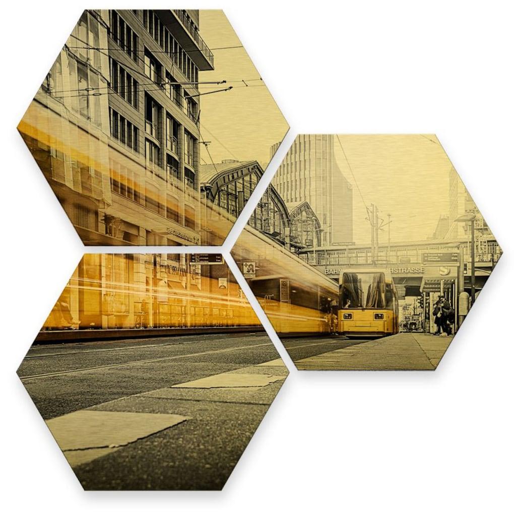 Wall-Art Mehrteilige Bilder »Goldeffekt Berlin Friedrichstrasse«, (Set, 3 St.)
