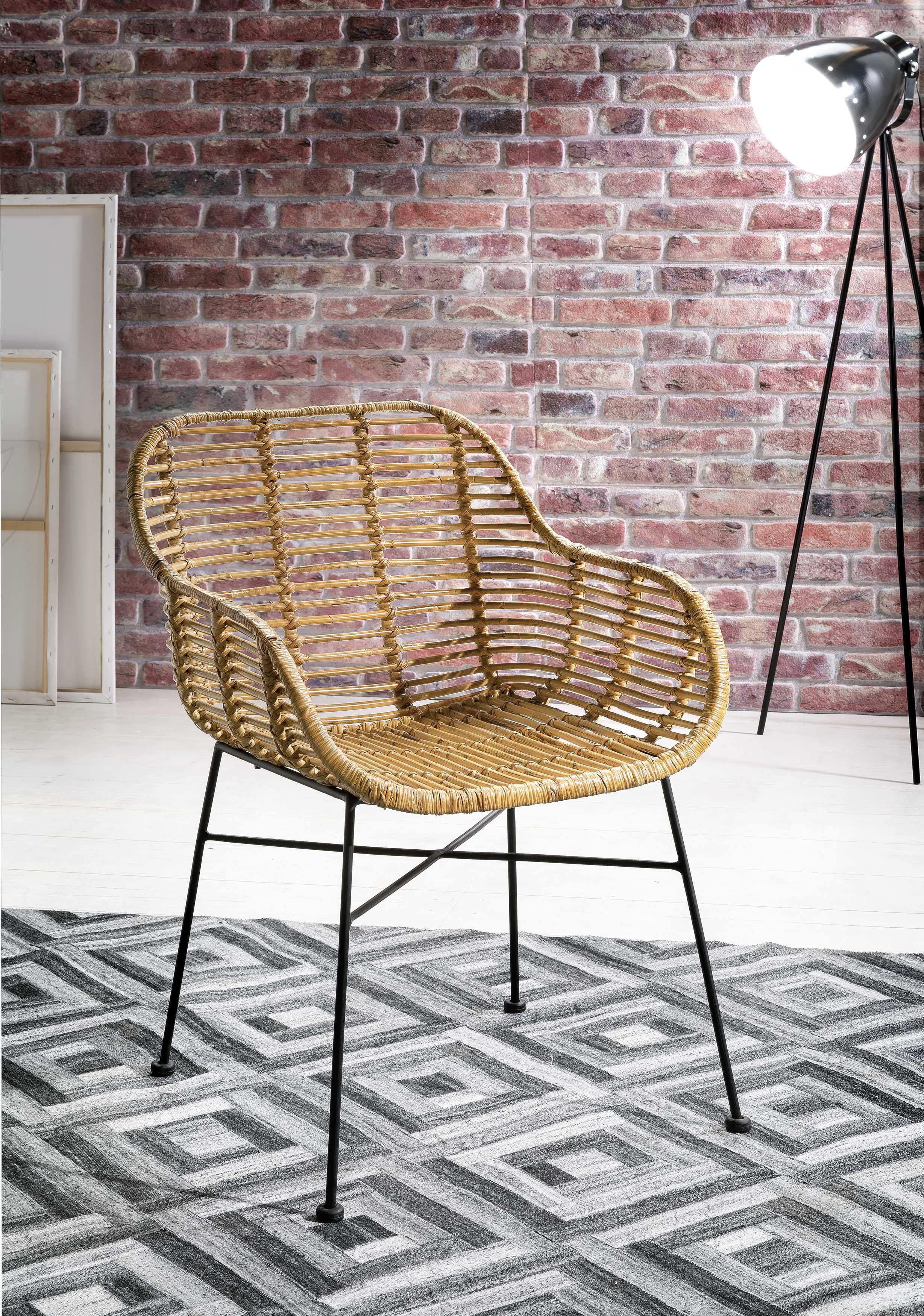 SIT Rattanstuhl Rattan Vintage, mit Armlehnen, Shabby Chic, Vintage beige 4-Fuß-Stühle Stühle Sitzbänke