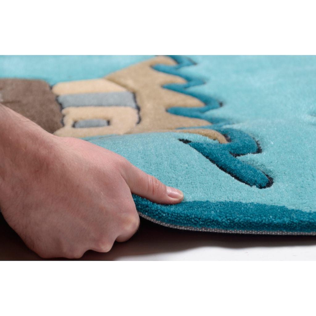 THEKO Kinderteppich »Maya«, rechteckig, 14 mm Höhe, Kurzflor, hochwertiges Acrylgarn, handgearbeiteter Reliefschnitt (Carving), Kinderzimmer