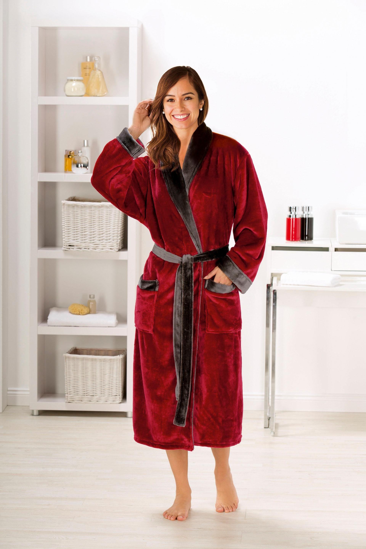 Unisex-Bademantel, Gözze, »Seidenfeeling«, mit edlem Glanz   Bekleidung > Bademode > Bademäntel   Rot   Polyester   GÖZZE