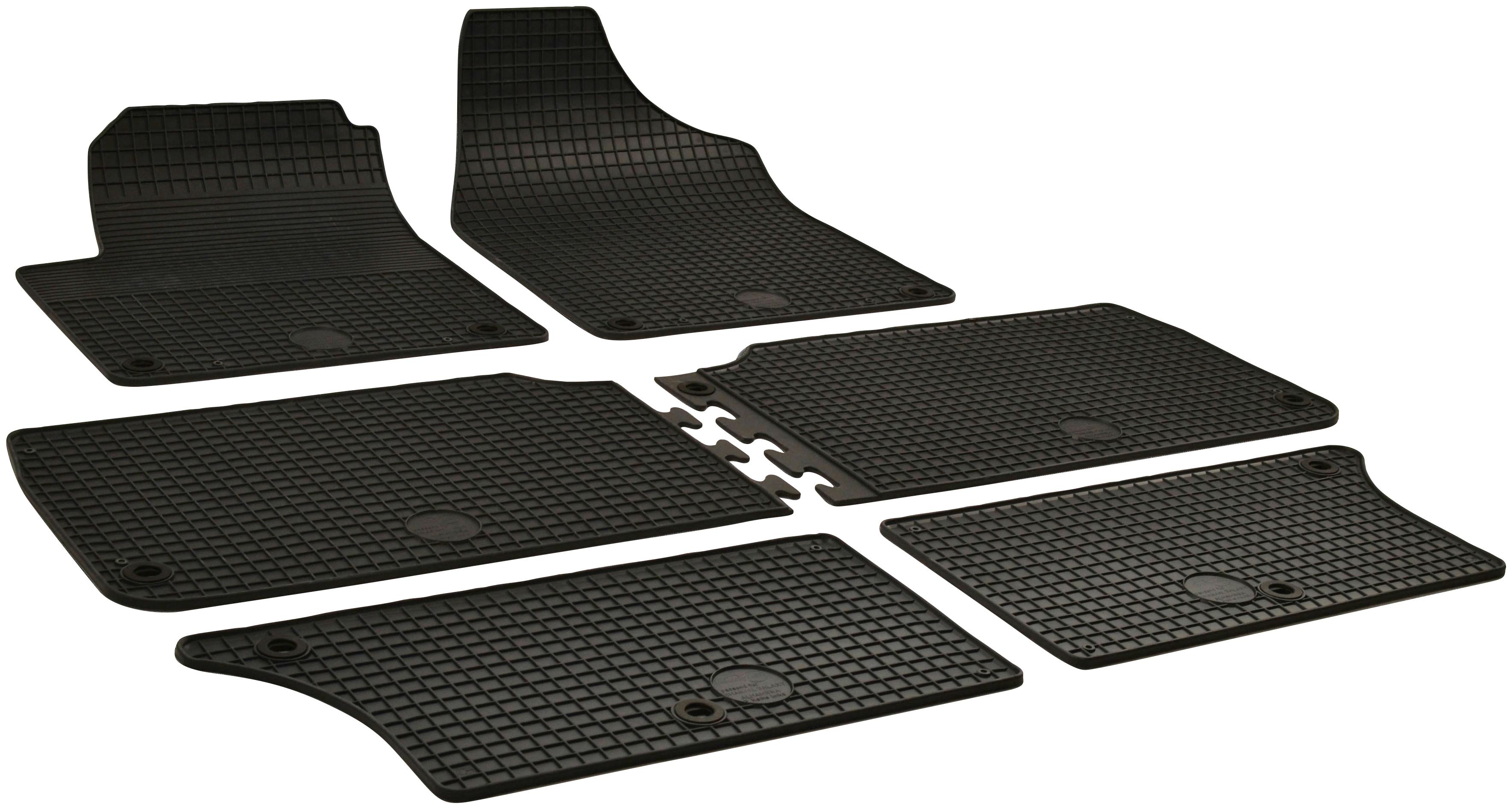 WALSER Passform-Fußmatten, Seat-VW, Alhambra-Sharan, Großr.lim., (6 St., 2 Vordermatten, Matten mittlere Reihe, Rückmatten), für VW Sharan und Seat Alhambra schwarz Automatten Autozubehör Reifen Passform-Fußmatten